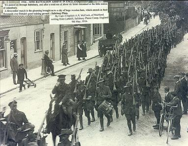 The 34th Battalion arrive in England, c. 1916. From the archives of the Coalfields Heritage Group