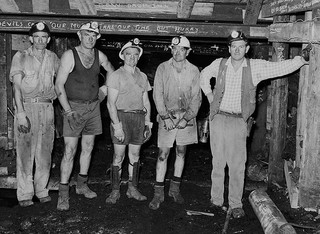 From left - Broncho Maclaughlan, Jack Blanche, George Drydon, Norm Stevens and Ken Drew (deputy) at Northern (Rhondda) Colliery. Mid 1960s. From the Barry Howard collection.
