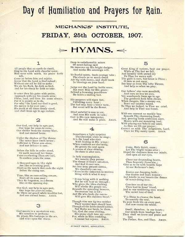Humns - Day of humiliation and prayers for rain, Singleton Mechanics Institute, Fr 28 Oct 1907