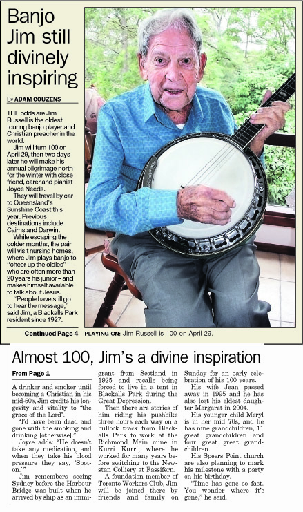 Jim's 100th birthday news article