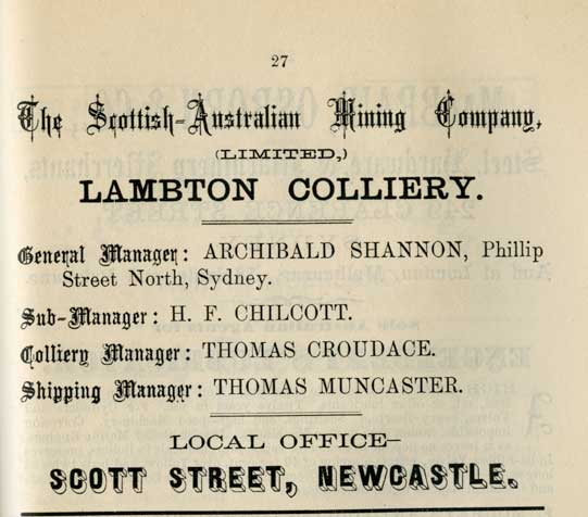 Advertisement for Lambton Colliery, 1887. From the Newcastle Nautical Almanac 1887, University of Newcastle, Cultural Collections.