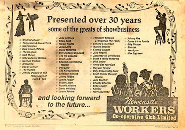 Ad for Newcastle Workers' Club, 1978