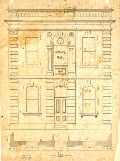 Plan for Masonic Hall in West Maitland, 1877
