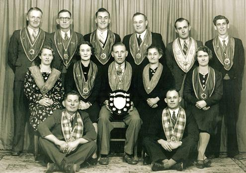 Manchester Unity Independent Order of Oddfellows (MUIOOF) Loyal Weston No 344. Winners Ritual Competition, 1940. Courtesy of the Coalfields Heritage Group.   Click photo to see full-sized image.