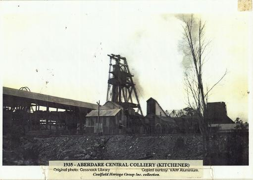 Aberdare Central Colliery (Kitchener) - 1935. Courtesy of the Coalfields Heritage Group, based at the Sir Edgeworth David Memorial Museum at Kurri Kurri.