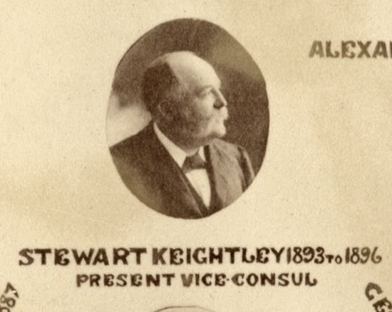 Stewart Keightley. From detail of Poster of the United States Consular Officers, Newcastle, [1890s].  Courtesy of the Newcastle and District Historical Society.