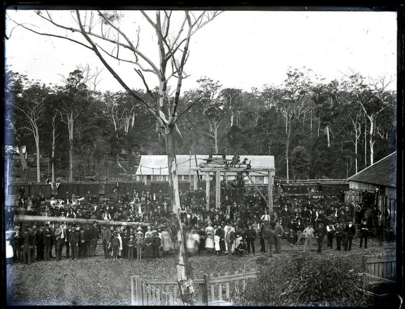 Miners and their families, New Lambton A Pit, New Lambton, September 1888. From the Ralph Snowball/Norm Barney Collection, University of Newcastle, Cultural Collections.
