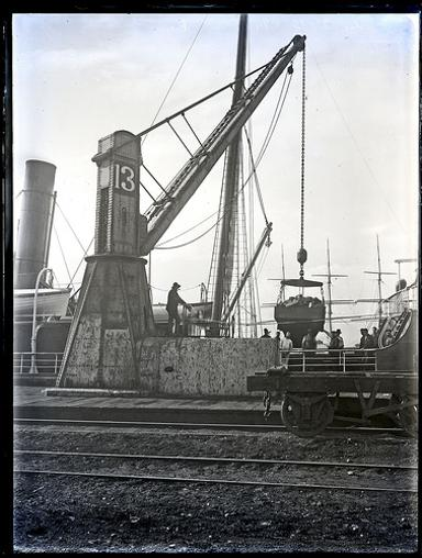 Coal loadig at The Dyke with Number 13 crane, Newcastle Harbour, Newcastle, NSW, 20 July 1894