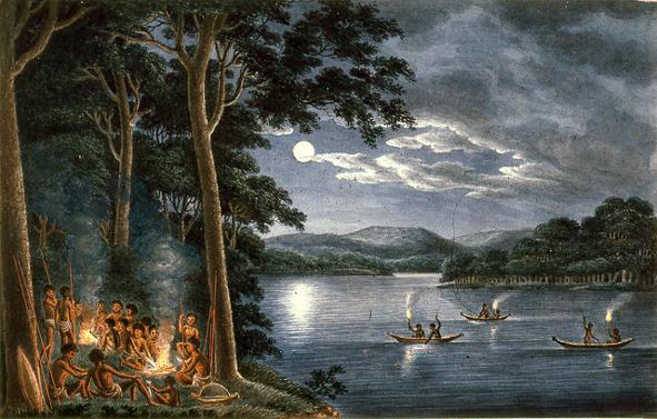 Aborigines Fishing with Canoes, Joseph Lycett Painting