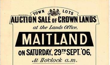 Auction sale of crown lands at the Lands Office Maitland, 1906.