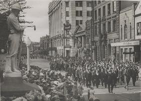 Military parade outside Newcastle Post Office building during the 1940s