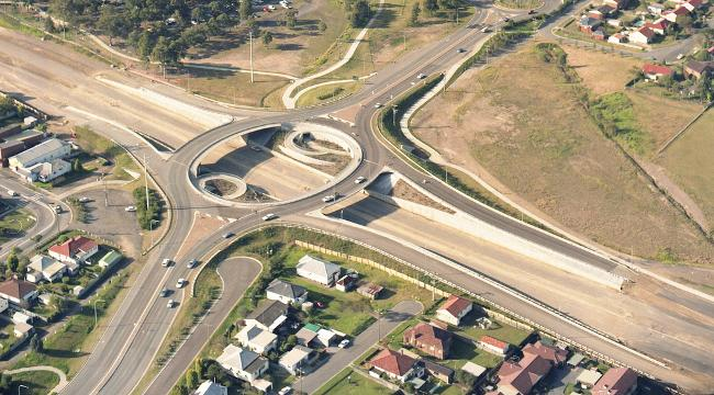 An aerial view of the roundabout on State Highway 23 that is situated near the University of Newcastle, Australia - 1992