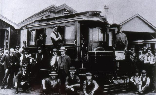Tram and group of men, Newcastle, NSW, Australia [c.1900]. Dr John Turner Collection, University of Newcastle, Cultural Collections.