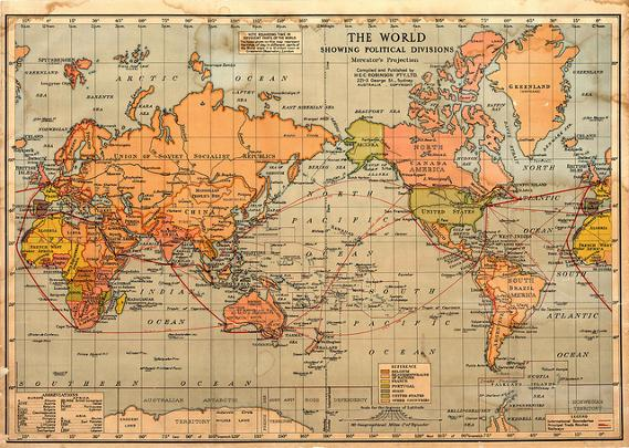 The World showing political divisions, Mercator's Projection [c.1940's].